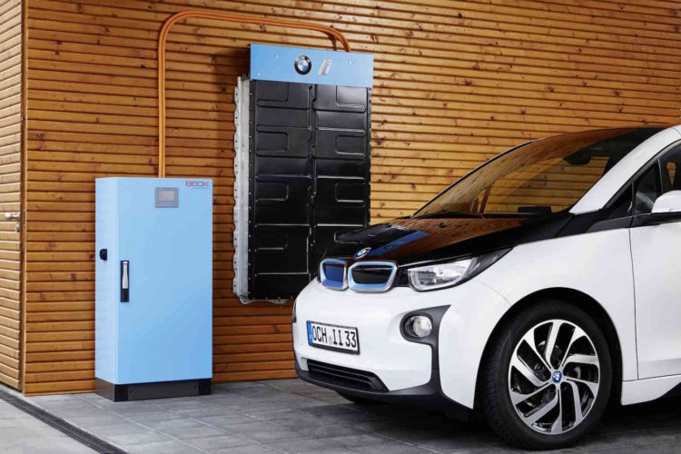 BMW i's stationary energy storage product will be available with 22kWh or 33kWh capacity using lithium-ion batteries used in i3 electric vehicles. Image: BMW.