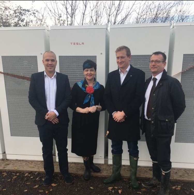 The UK's first Tesla Powerpack was officially unveiled recently. Image: Image: Baroness Neville-Rolfe via Twitter.
