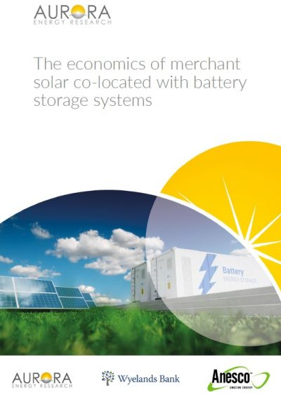 Report: The economics of merchant solar co-located with battery storage systems front cover