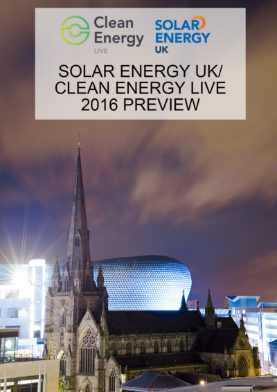 Solar Energy UK & Clean Energy Live 2016 Preview front cover