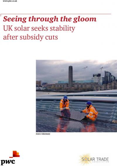 PWC/STA Solar Report - Seeing through the Gloom front cover